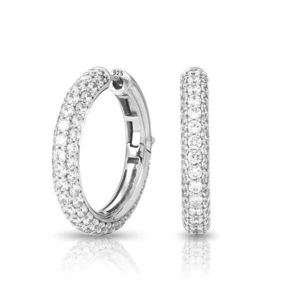 Belle e'toile Pave Sterling Silver White Earrings (83094)