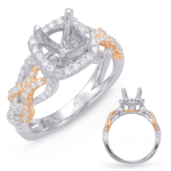 14K White and Rose Gold .54ctw Diamond Engagement Semi-Mount (87348)