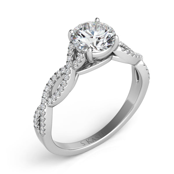 14K White Gold .43ctw Diamond Engagement Ring (87358)