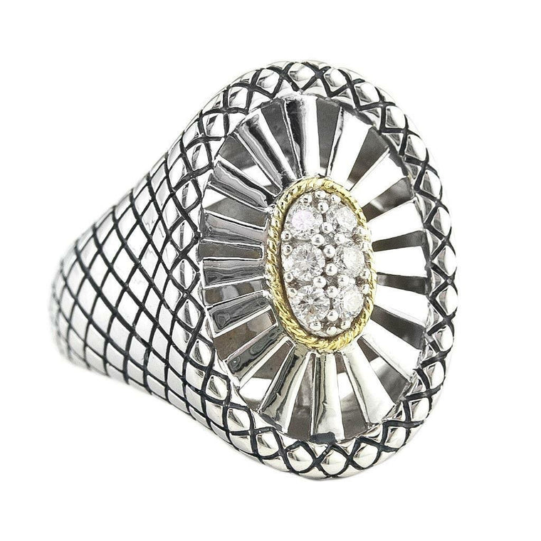 Andrea Candela 18k Gold and Sterling Silver Diamond Ring, Size 7 (88700)