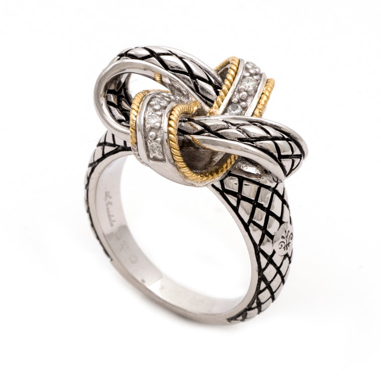 Andrea Candela 18k Gold and Sterling Silver Diamond Knot Ring, Size 7 (88701)