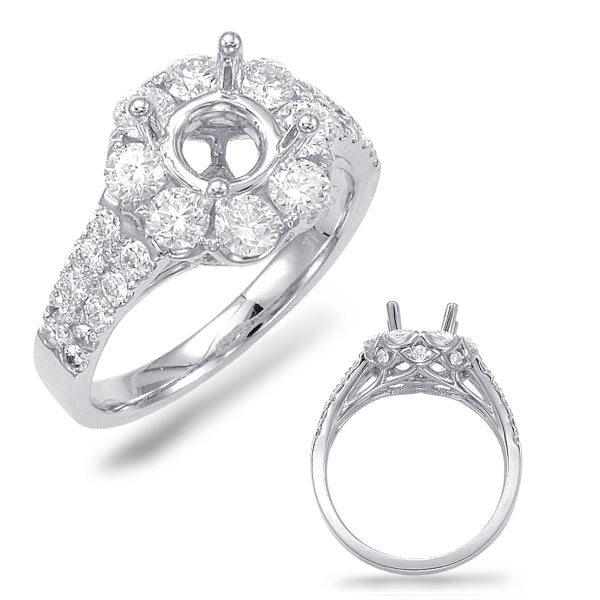 14K White Gold 1.62ctw Diamond Engagement Semi-Mount (88742)