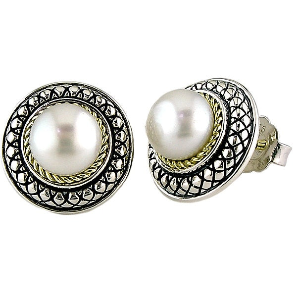 Andrea Candela 18k Gold and Sterling Silver 8mm Button Pearl Earrings (89502)