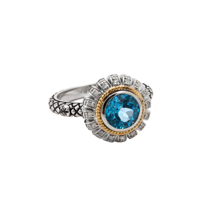 Andrea Candela 18K Gold and Sterling Silver Blue Topaz and Diamond Ring, Size 7 (89615)