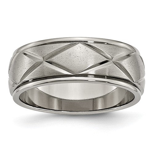 Titanium Polished X-Design 8mm Satin Center Ridged Edge Band, Size 10 (89749)