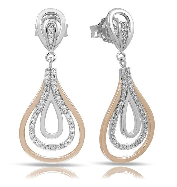 Belle e'toile Onda Sterling Silver and Rose Gold Earrings (89862)