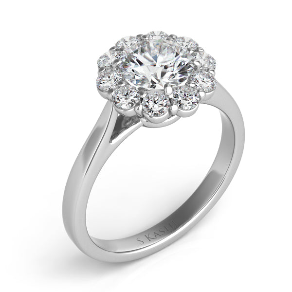 14K White Gold .51ctw Diamond Engagement Ring (89938)