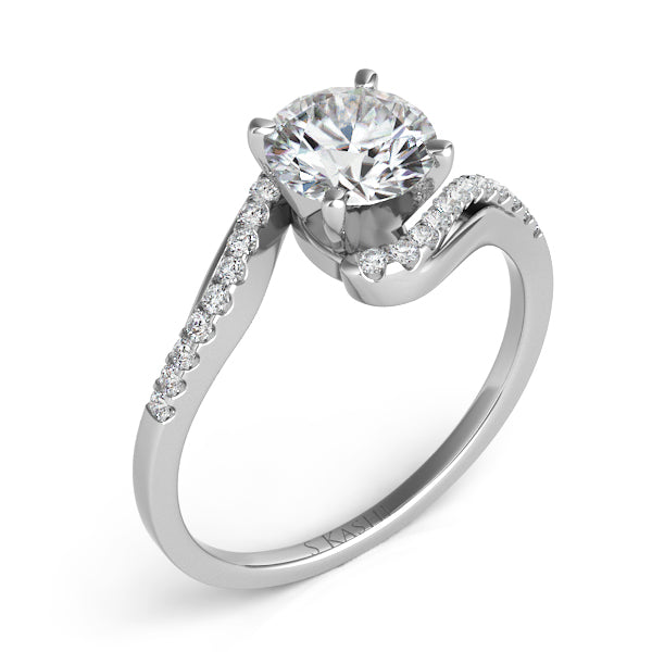 14K White Gold .14ctw Diamond Engagement Ring (90107)
