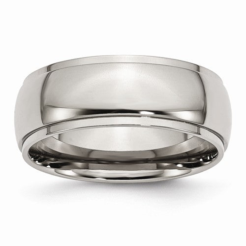 Titanium Ridged Edge 8mm Polished Band, Size 12 (90133)