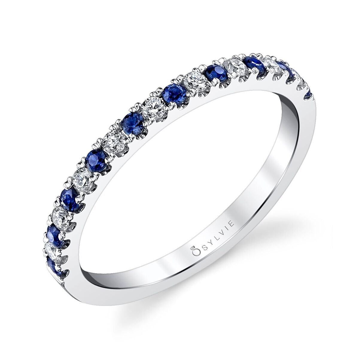 14K White Gold Sylvie .35ctw Sapphire and Diamond Band (90453)