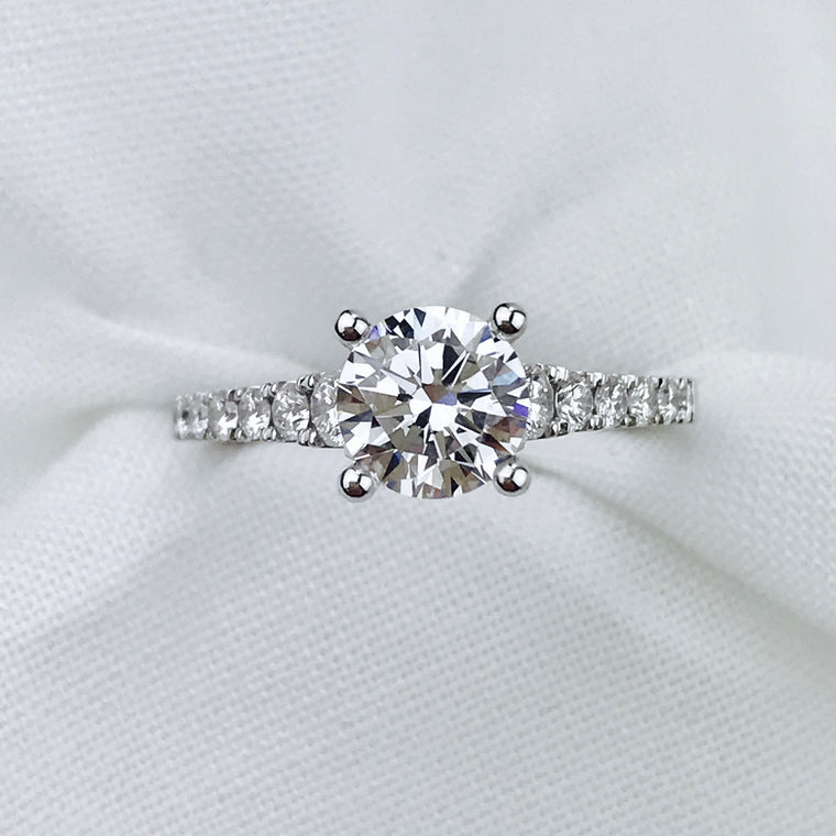 14K White Gold Sylvie .38ctw Diamond Engagement Semi-Mount (90607)