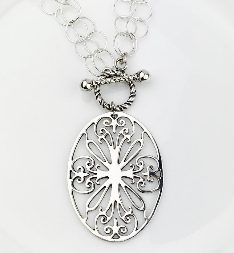 Sterling Silver Charleston Gates St. Philip's Large Oval Pendant on Double Ring Silver Chain (90884)