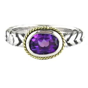 Andrea Candela Sterling Silver Oval Amethyst Ring, Size 7 (90959)