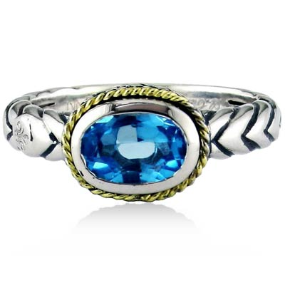 Andrea Candela Sterling Silver Oval Blue Topaz Ring, Size 7 (91082)