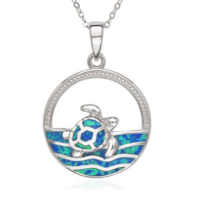Sterling Silver Blue Created Opal Inlay Sea Turtle Necklace (91367)
