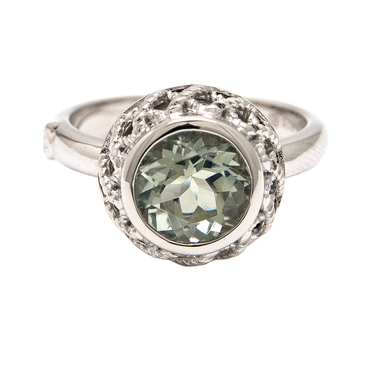 Andrea Candela Sterling Silver Green Amethyst Ring (91729)