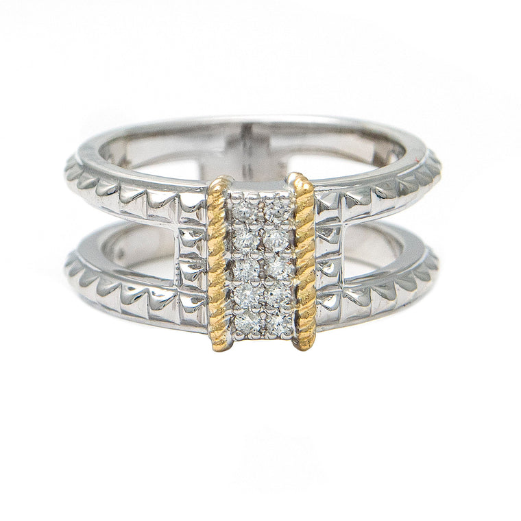 Andrea Candela 18k Yellow Gold and Sterling Silver Diamond Ring (92038)