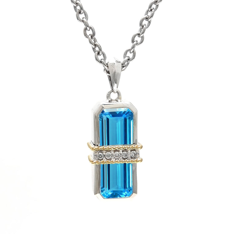 Andrea Candela 18k Yellow Gold and Sterling Silver Blue Topaz & Diamond Necklace (92111)