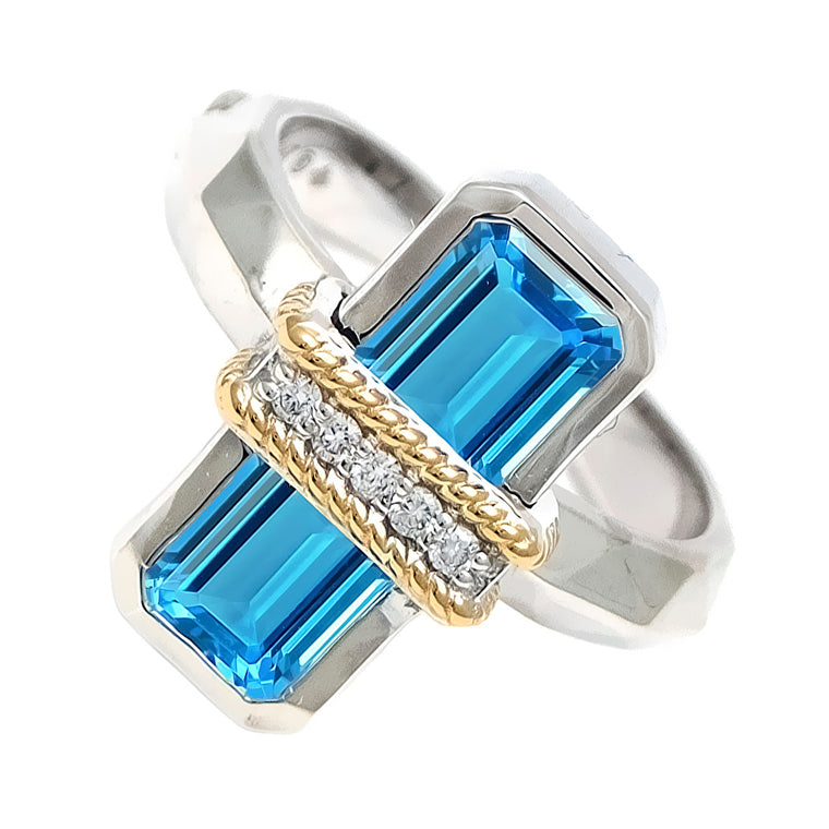 Andrea Candela 18k Yellow Gold and Sterling Silver Blue Topaz & Diamond Ring, Size 7 (92113)