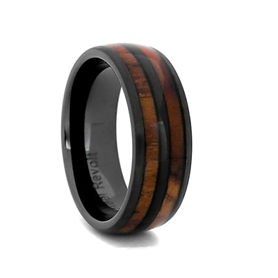 8mm Ceramic Wedding Ring With Genuine Wood from M1 Garand Rifle, Size 9 (92122)