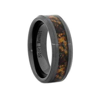 Comfort Fit 8mm High-Tech Ceramic Band With High-Def Dinosaur Bone Inlay, Size 9 (92129)