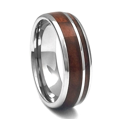 Comfort Fit Domed 8mm Tungsten Carbide Band With Whiskey Barrel Wood Inlay, Size 9.5 (92307)