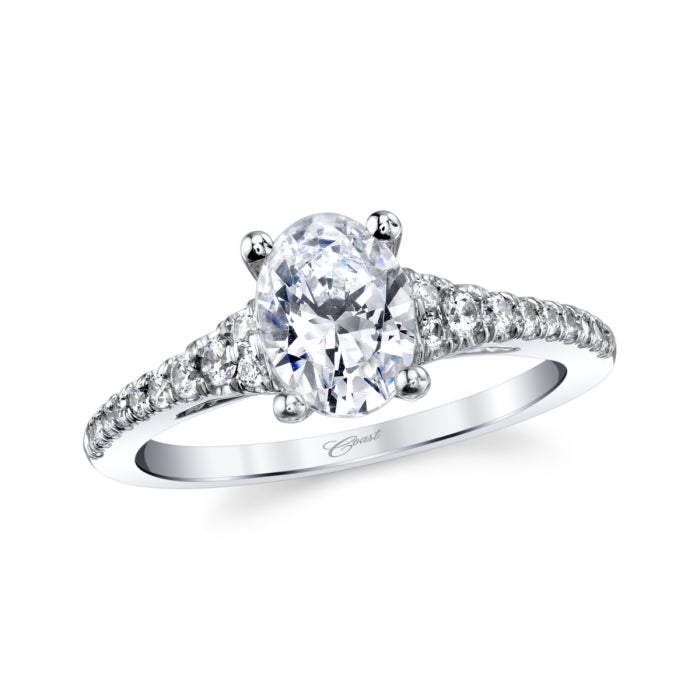 14K White Gold .27ctw Oval Diamond Engagement Semi-Mount (92898)