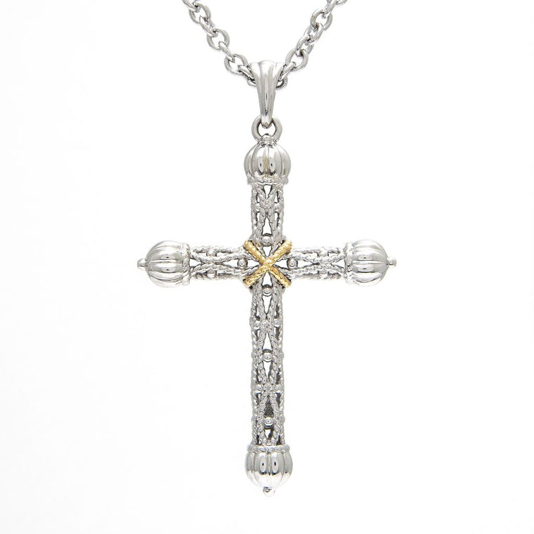 Andrea Candela 18k Yellow Gold and Sterling Silver Cross Necklace (92970)