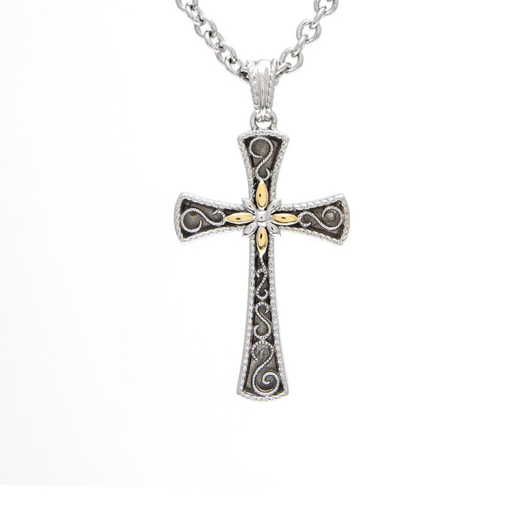 Andrea Candela 18k Yellow Gold and Sterling Cross Necklace (92975)