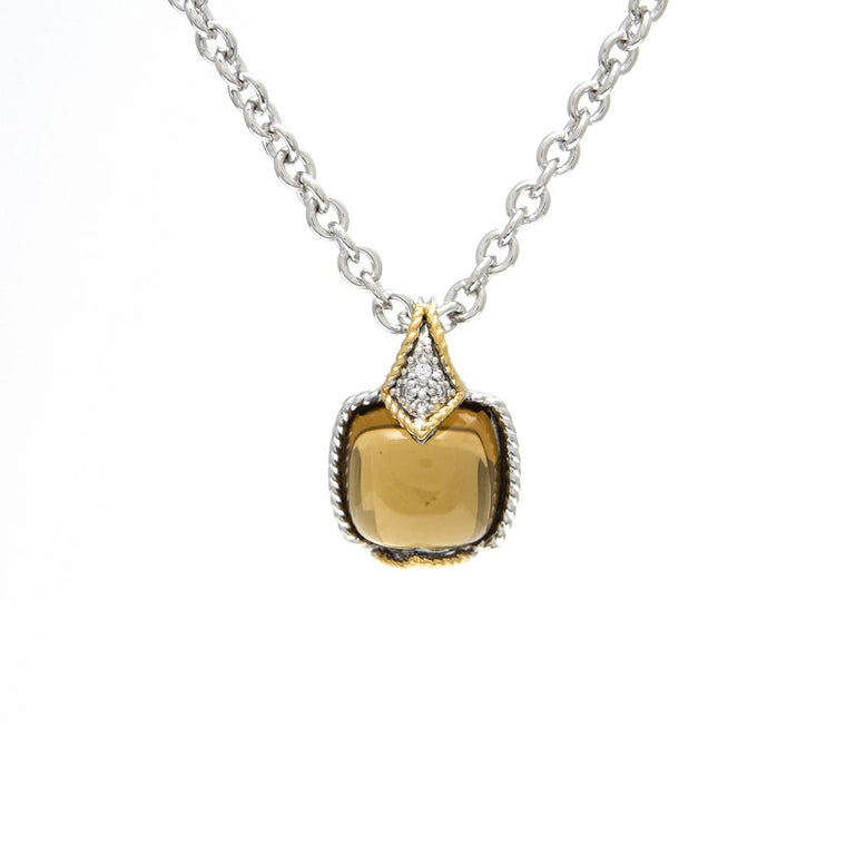 Andrea Candela 18K Yellow Gold and Sterling Silver Diamond and Cognac Quartz Necklace (92976)