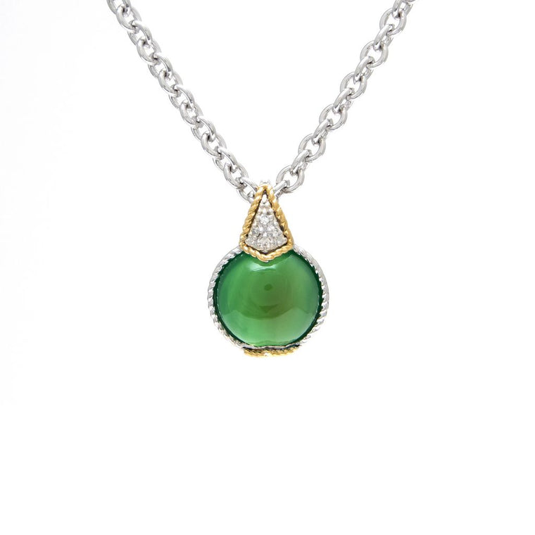 Andrea Candela 18K Yellow Gold and Sterling Silver Diamond Green Agate Necklace (92977)