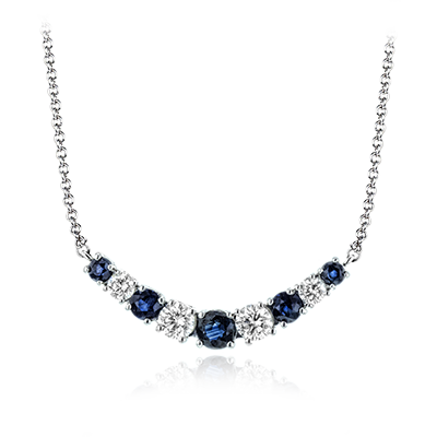 14K White Gold 0.31ctw Diamond and 0.35ctw Sapphire Necklace (93059)
