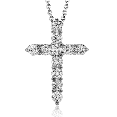 14K White Gold 0.39ctw Diamond Cross Necklace (93061)