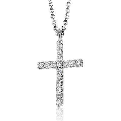 14K White Gold 0.07ctw Diamond Cross Necklace (93062)