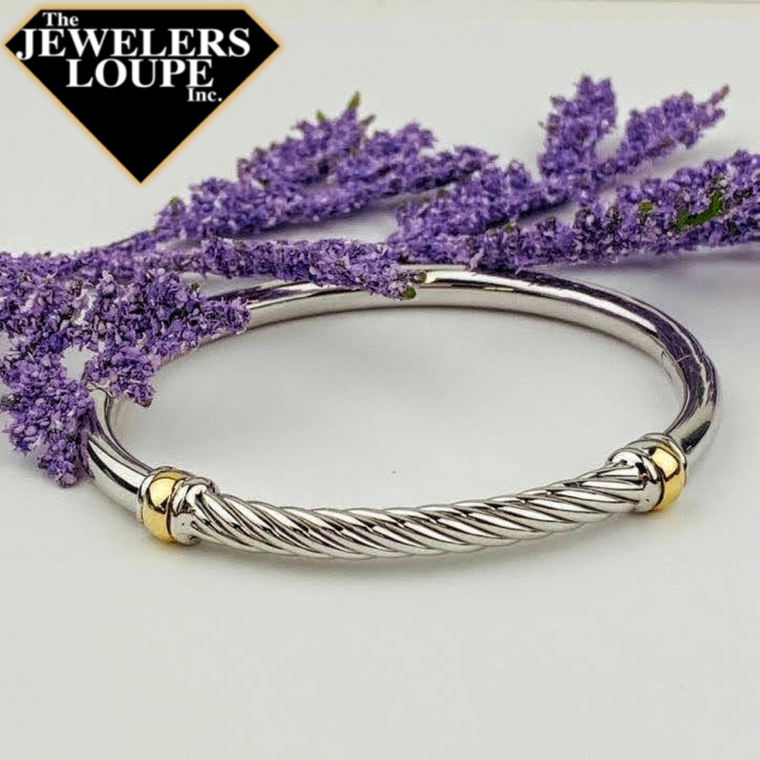 Sterling Silver and 18K Yellow Gold Bangle with Twist Design (93736)