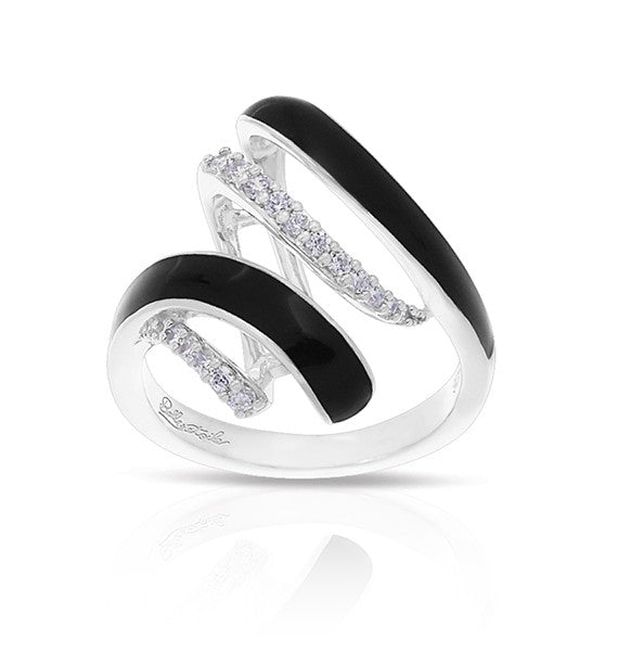 Belle e'toile Aria Black Ring, Size 7 (91407)