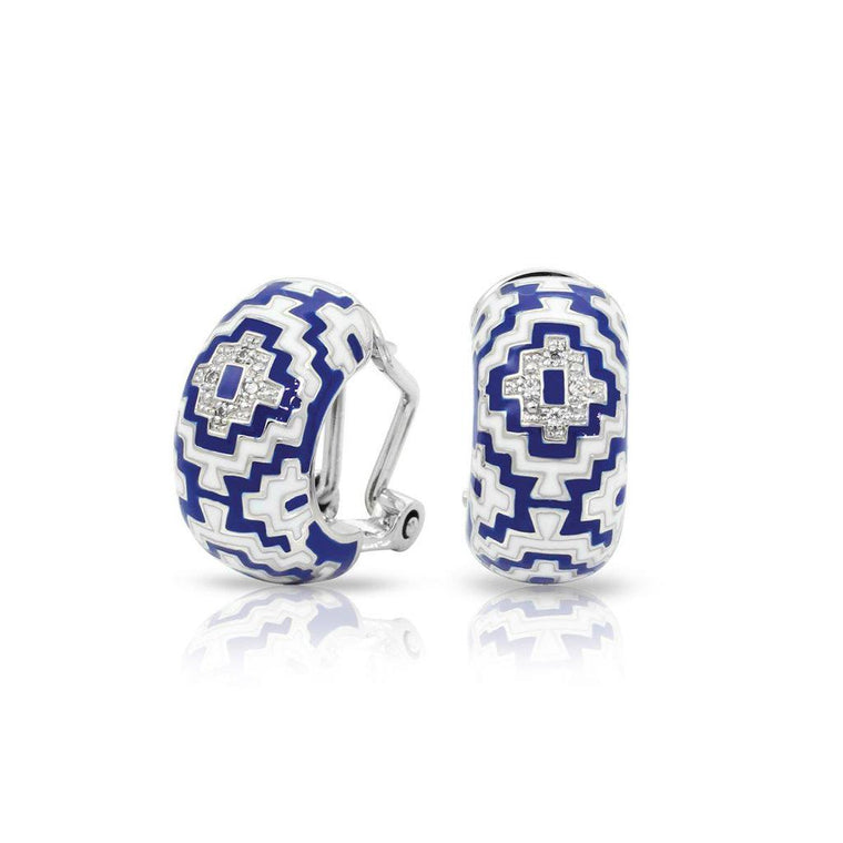 Belle e'toile Sterling Silver Aztec Blue Earrings (81351)