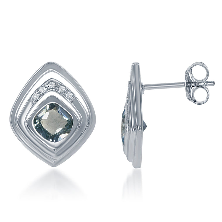 Bellissima Blue and White Topaz Square Earrings (88656)