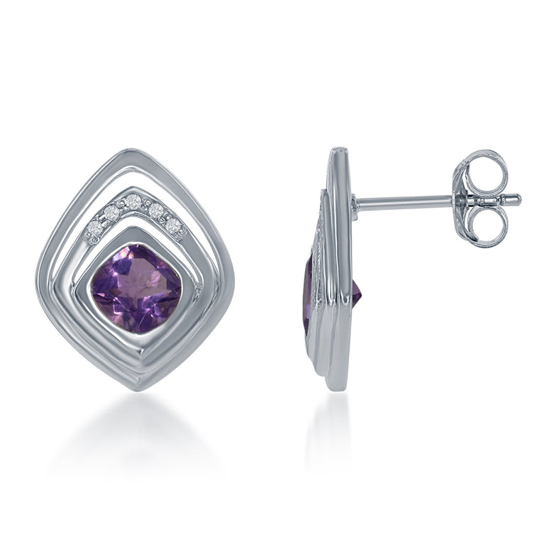 Bellissima Amethyst and White Topaz Square Earrings (88657)