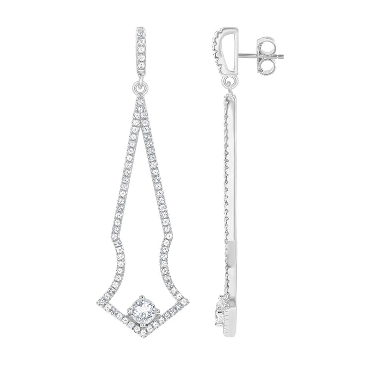 Bellissima Bridal White Topaz and Sterling Silver Earrings (89154)