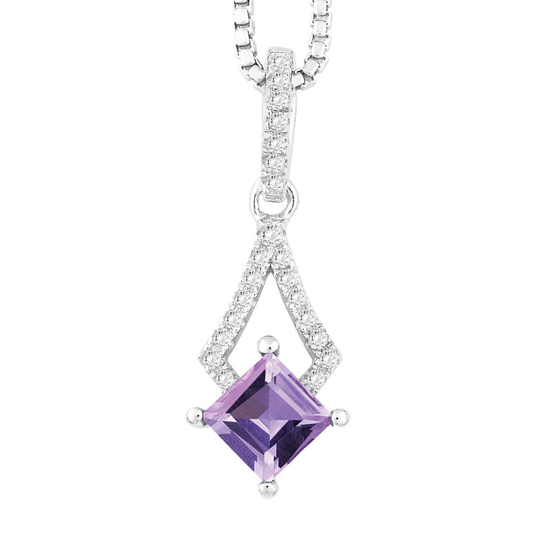 Bellissima Sterling Silver Amethyst and White Topaz Necklace (89501)