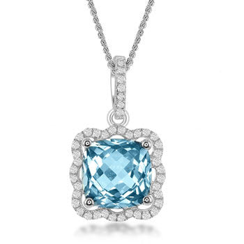 Bellissima Sterling Blue and White Topaz Necklace (88949)
