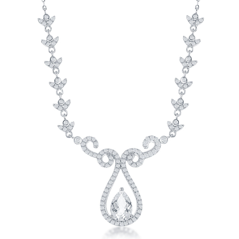 Bellissima Bridal White Topaz and Sterling Silver Necklace (89127)