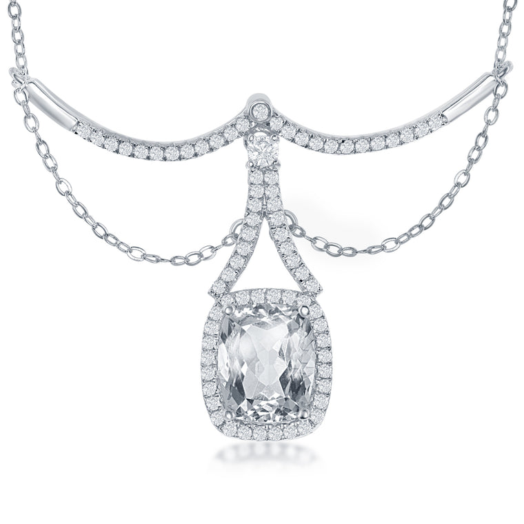 Bellissima Bridal White Topaz and Sterling Silver Necklace (89128)