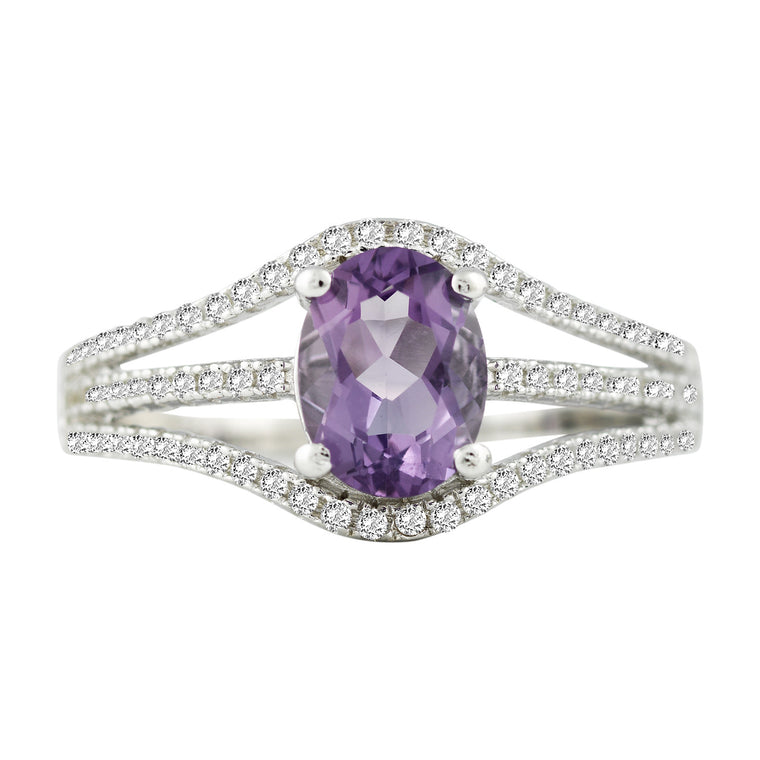 Bellissima Sterling Silver Amethyst and White Topaz Ring, Size 6 (83587)