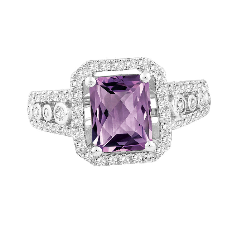 Bellissima Sterling Silver Amethyst and White Topaz Ring, Size 6 (83603)