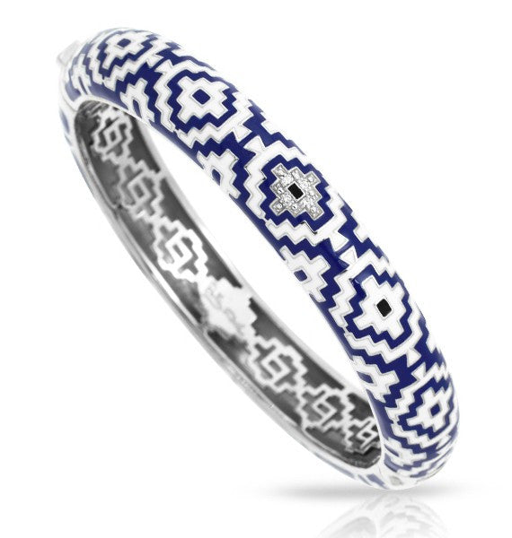 Belle e'toile Sterling Silver Aztec Blue Bracelet, Medium (81352)