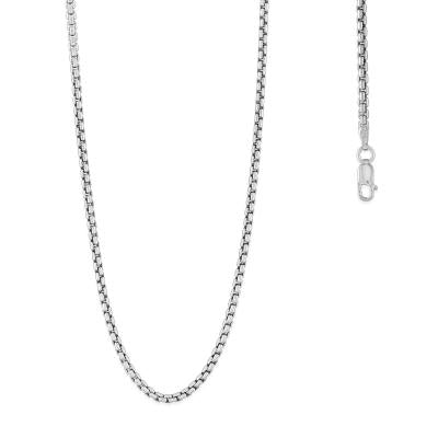 "24"" Sterling Silver 2.6mm Rhodium Plated Round Box Chain (90516)"