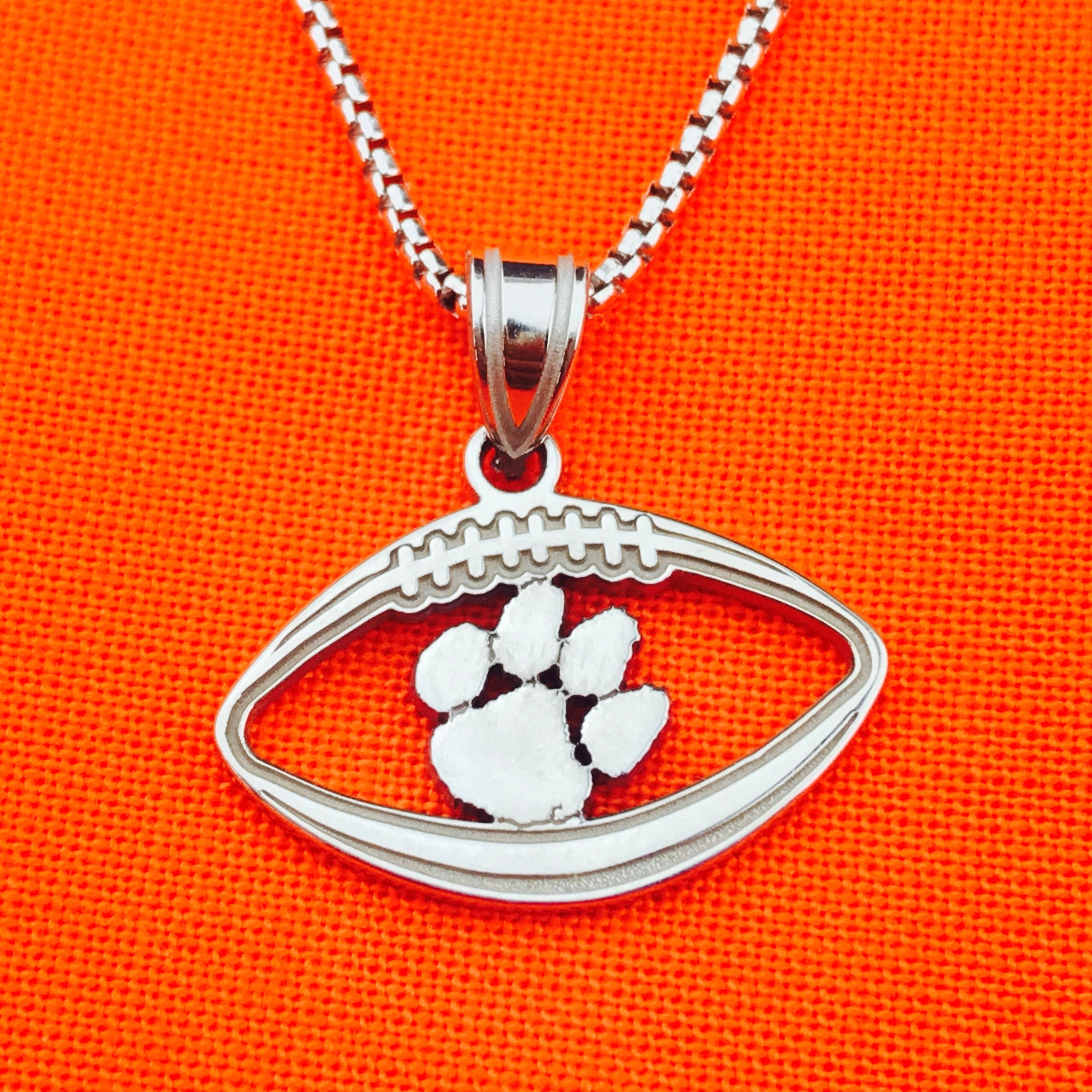 piece paw university tigers clemson jewelry plated silver chic pendant pin set campus logo
