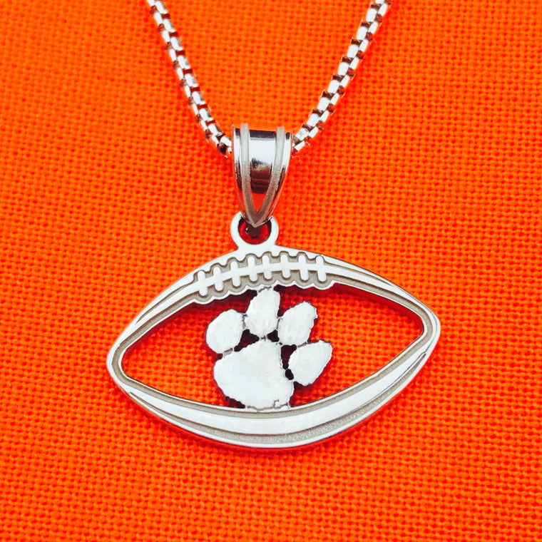 Sterling Silver LogoArt Officially Licensed Clemson University Football Pendant